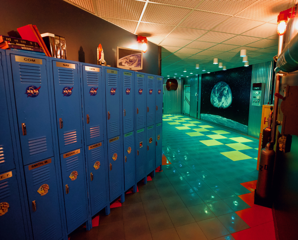 lockers in the challenger learning center