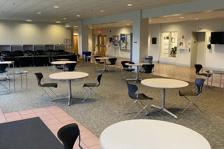 the lobby waiting area of the allied health building